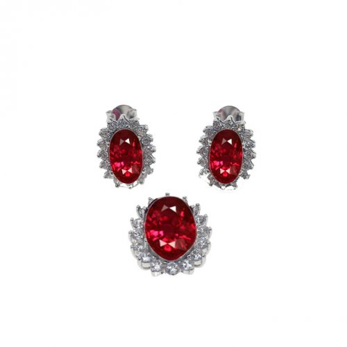 Sterling silver CZ Royal Bezzeled Ruby Pendant Set (PS-1024-R)