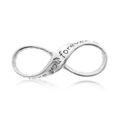 "Plain Sterling Silver ""I Love You Forever"" Engraved Infinity Pendant (P-1193)"