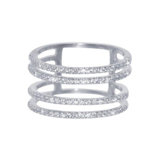 Silver Rhodium Plated CZ 4 Bar Ring (R-1288)