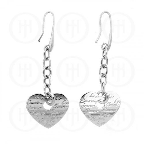 "Tiffany Inspired Rhodium Plated Sterling Silver Engraved ""Love"" Earrings (ER-1048)"