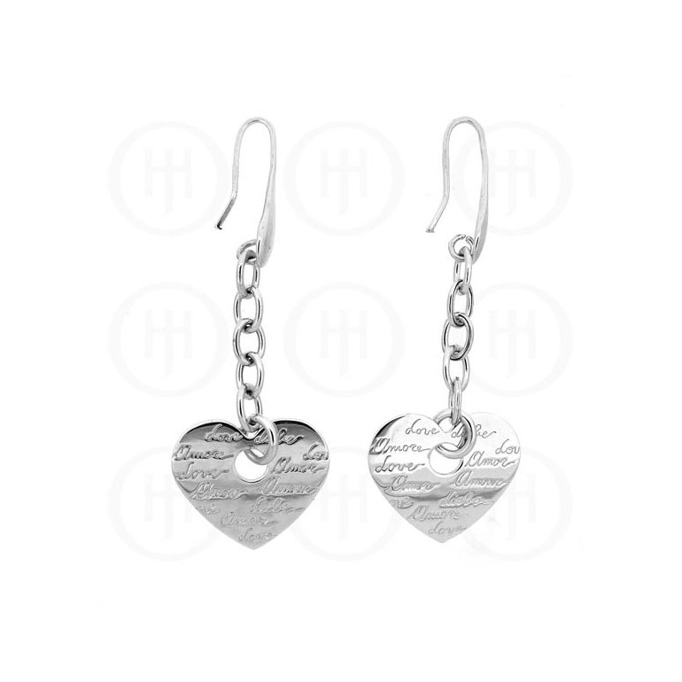 Tiffany Inspired Rhodium Plated Sterling Silver Engraved Love Earrings