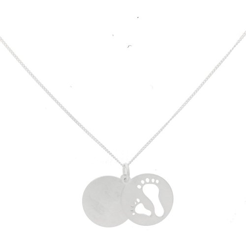 Sterling Silver Mother and Child Footprint Pendant (P-1376)