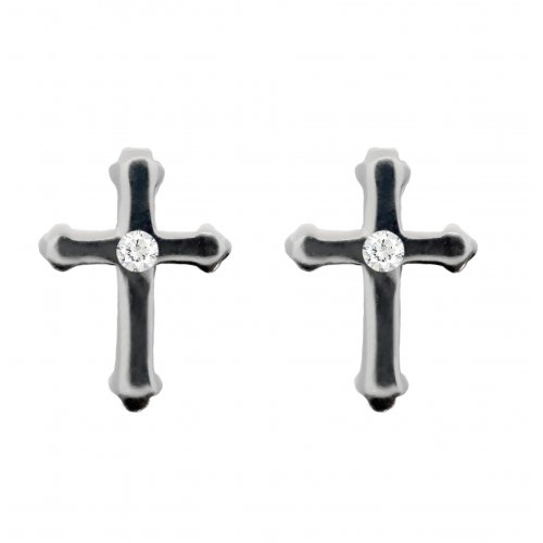 SilverCross CZ Center Stud Earrings (ST-1160)
