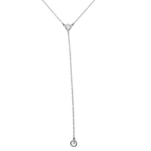 Sterling Silver CZ Single Bezel Lariat Necklace (N-1252)
