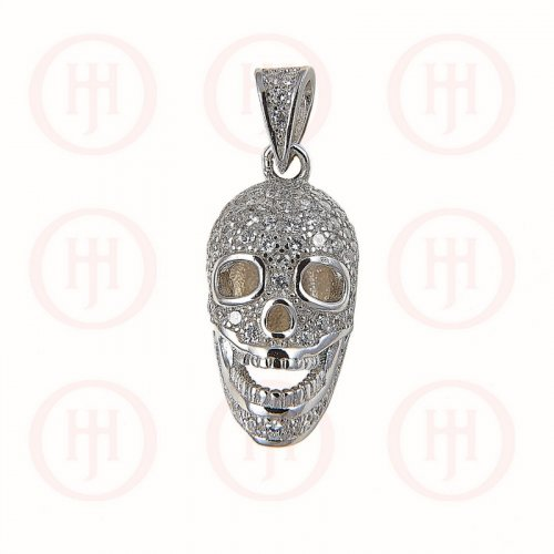 Sterling Silver Rhodium Plated CZ Skull Pendant (P-1182)