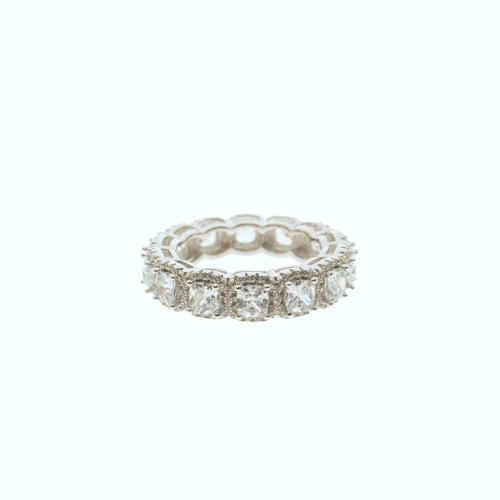 Sterling Silver CZ Cushion Halo Band Ring (R-1364)