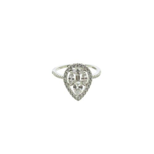 Sterling Silver CZ Multi-Stone Teardrop Halo Ring (R-1367)