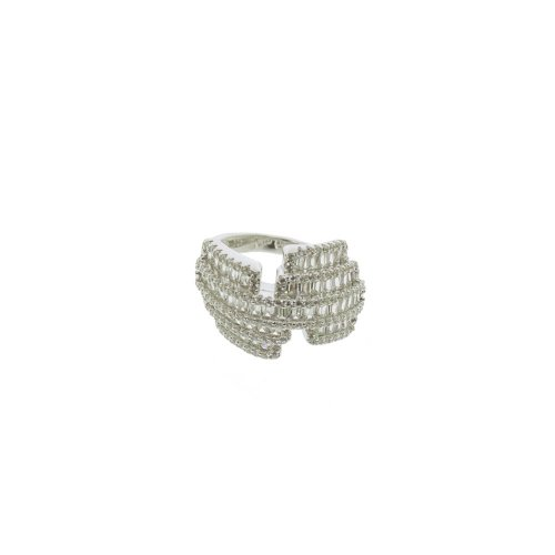 Sterling Silver CZ Staggered Baguette Halo Ring (R-1368)