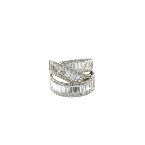 Sterling Silver CZ Layered Crossover Baguette Halo Ring (R-1369)
