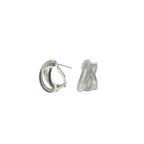Sterling Silver CZ Layered Crossover Omega Back Earring (ER-1311)