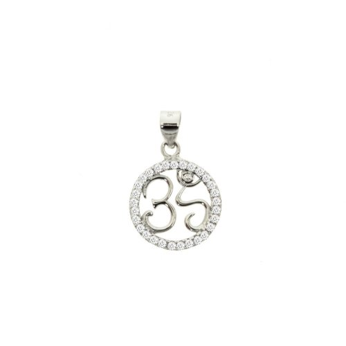 Sterling Silver CZ Om Pendant Round (P-1381)