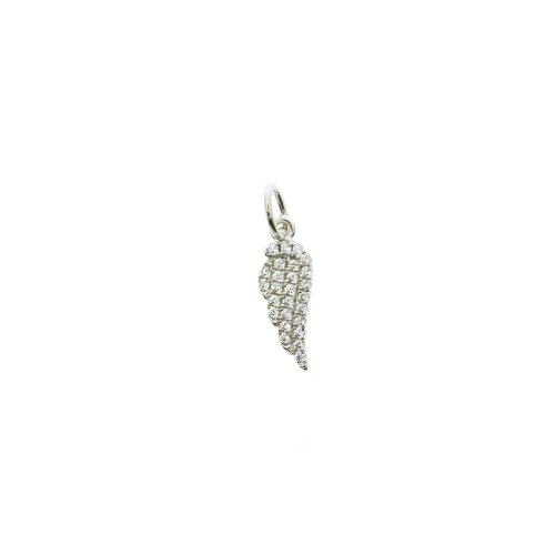 Sterling Silver CZ Angel Wing Pendant (P-1382)
