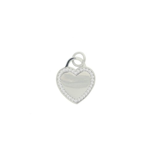 Sterling Silver Tiffany Inspired CZ Heart Dog Tag Pendant (P-1385)