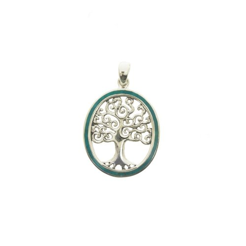 Sterling Silver Turquoise Tree of Life Pendant, Oval (P-1378)