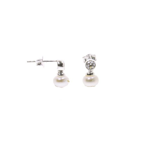 Sterling Silver Cz And Pearl Stud Earrings St 1259