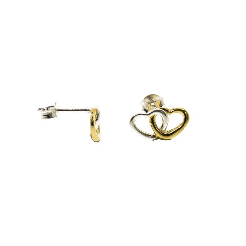 Sterling Silver and Gold Plated Two-Tone Linked Heart Studs (ST-1255)