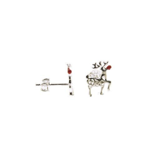 Sterling Silver Rudolph Reindeer with Red Nose Studs (ST-1258)