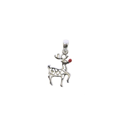 Sterling Silver Rudolph Reindeer Charm with Red Nose, Small (P-1383)