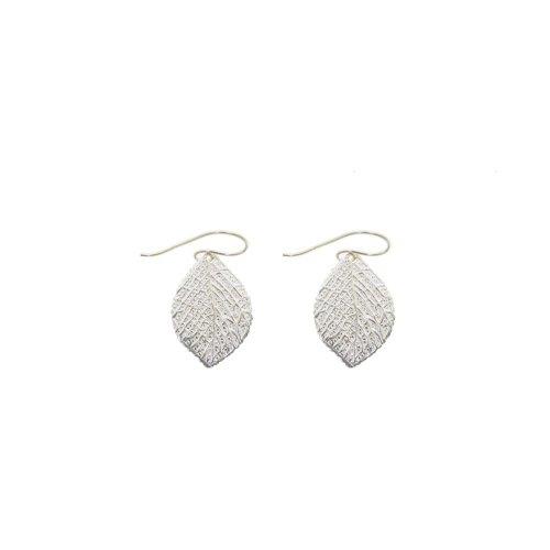 Sterling Silver Stamped Leaf Earrings (ER-1249)
