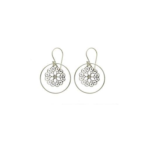 Sterling Silver CZ Filigree Dangle Earrings (ER-1248)