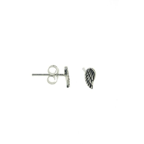 Sterling Silver Plain Angel Wing Studs (ST-1264)