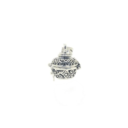 Sterling Silver Bali Style Cremation Urn Charm Pendant (P-1380)