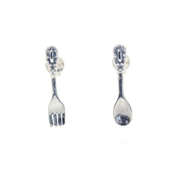 Sterling Silver Plain Spoon and Fork Studs (ST-1266)