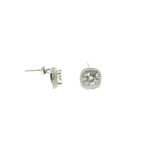 Sterling Silver Double Halo CZ Studs (ST-1298)