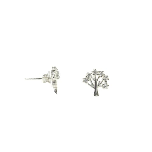 Sterling Silver CZ Tree of Life Studs (ST-1296)