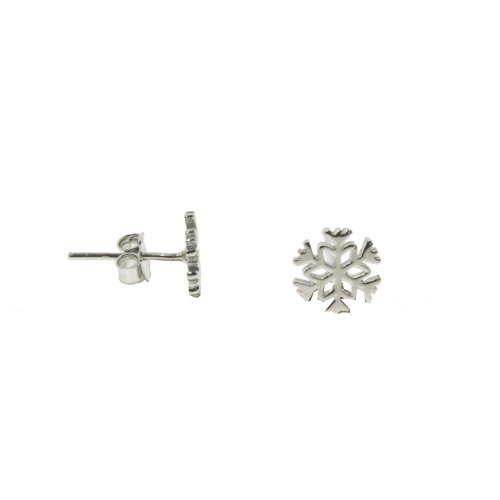 Sterling Silver Rhodium Plated Plain Snowflake Studs 8mm (ST-1295)