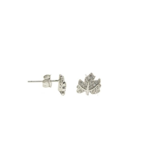 Sterling Silver CZ Maple Leaf Studs (ST-1289)