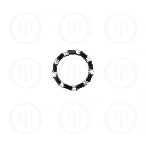 Silver CZ Baguette Circle of Life Pendant Black Onyx (P-1112