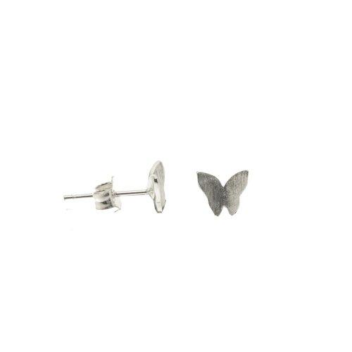 Sterling Silver Plain Satin Finish Butterfly Studs (ST-1284)