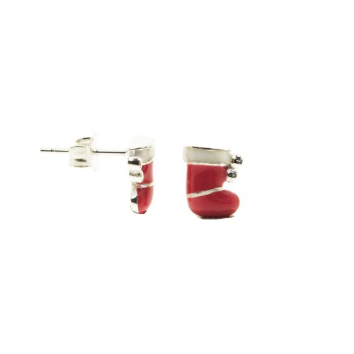 Sterling Silver Enamel Christmas Stockings Studs (ST-1275)