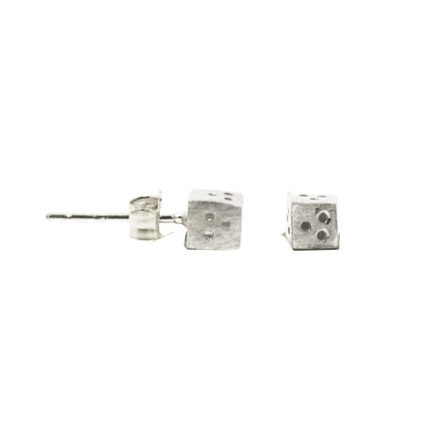Sterling Silver Satin Finish Dice Studs (ST-1283)
