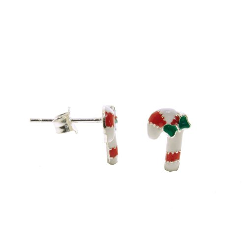 Sterling Silver Enamel Candy Cane Christmas Studs (ST-1274)
