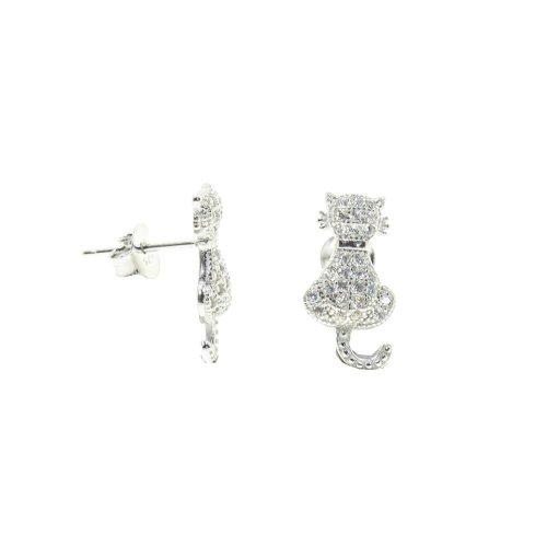 Sterling Silver CZ Pussy Cat Studs (ST-1302)