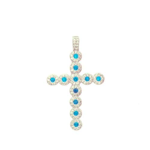 Sterling Silver Blue Topaz CZ Halo Cross (CR-1395-BT)