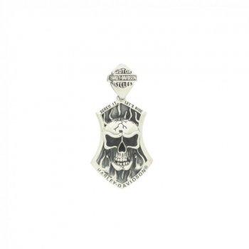 Sterling Silver Harley Davidson Skull Pendant (P-1390)