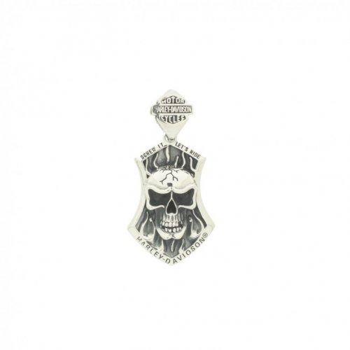 Sterling Silver Harley Davidson Skull Pendant