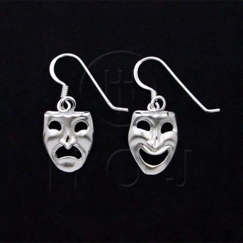 Sterling Silver Plain Comedy and Tragedy Drama Mask Dangle Earrings (ED1266)