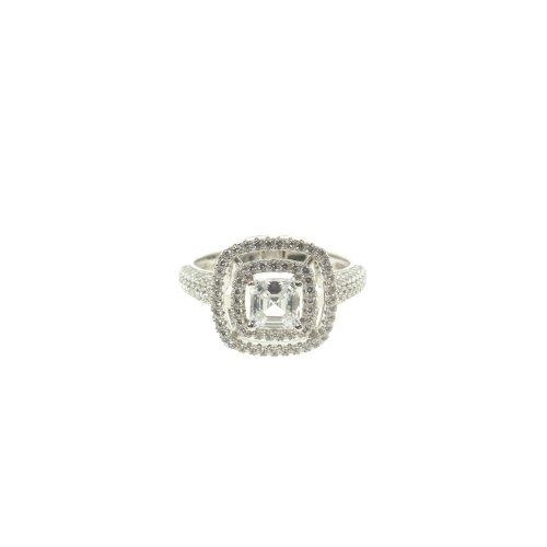 Double Halo Princess Cut CZ Ring (R-1383)