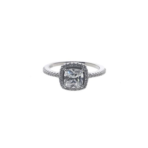 Sterling Silver CZ Cushion Cut Halo Ring (R-1545)