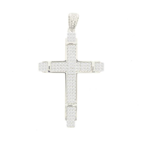 Sterling Silver CZ Pave Hiphop Cross (CR-1394)