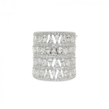 Sterling Silver Four Layer CZ Cocktail Ring (R-1342)