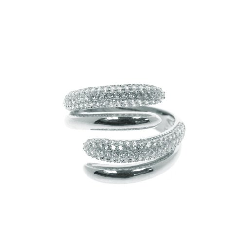 Sterling Silver Plain and CZ Cocktail Ring (R-1395)