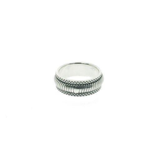 Sterling Silver Mens Spinning snake Pattern Ring (R-1407)
