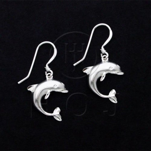 Silver Plain Dolphin Dangle Earrings (ED2426)