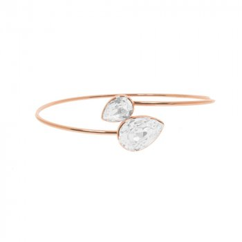 Rosegold Sterling Silver double Teardrop Bangle (IB-1085)