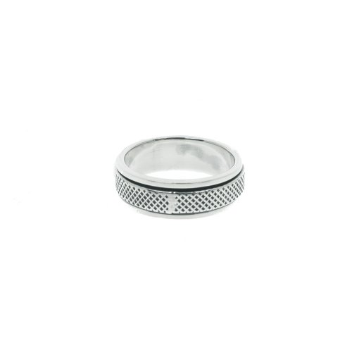 Sterling Silver Mens Cross Hatched Spinning Ring (R-1406)